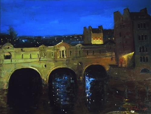 """Silent Night Pulteney Bridge II"" original fine art by Adebanji Alade"