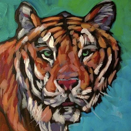 """Tonka the Tiger"" original fine art by Kat Corrigan"