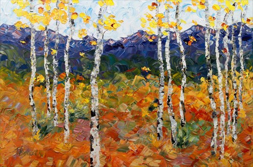 """Palette Knife Aspen Landscape Painting Too Much Fun by  Colorado Impressionist Judith Babcock"" original fine art by Judith Babcock"