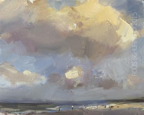"""Clouds and Light Effects – Seascape ""Swift Shades"""" original fine art by Roos Schuring"