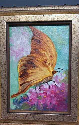 """Brown  Butterfly with Hydrangea"" original fine art by Barbara Haviland"