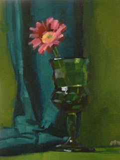 """Green & Pink --- SOLD"" original fine art by Carol Marine"
