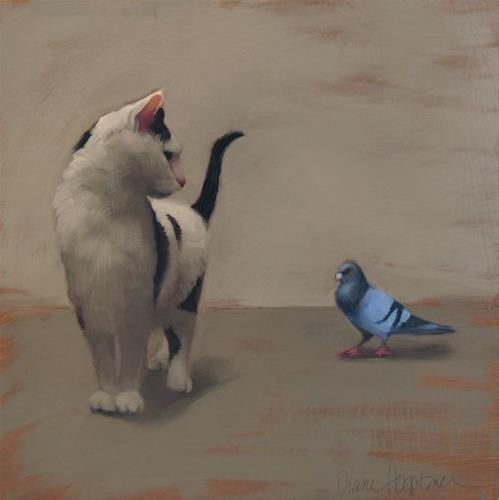 """Cat and Pigeon and news about an upcoming show in Cleveland"" original fine art by Diane Hoeptner"