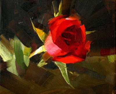 """Red Rose 4 --- Sold"" original fine art by Qiang Huang"