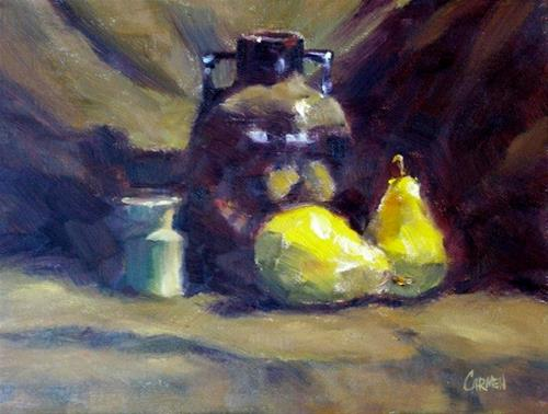 """Still Life with Pears, 8x6 Oil on Canvas Panel"" original fine art by Carmen Beecher"