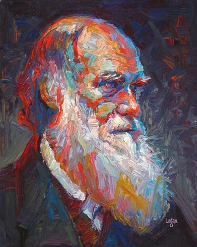 """Charles Darwin"" original fine art by Raymond Logan"