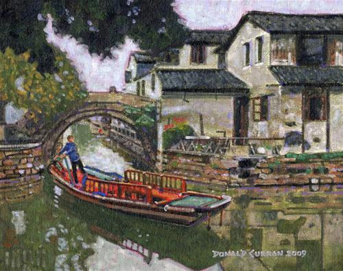 """Canal Boat, China"" original fine art by Donald Curran"