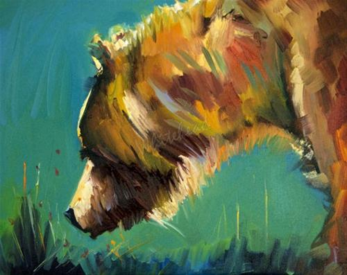 """NOSEY BEAR ANIMAL ART OIL PAINTING DIANE WHITEHEAD FINE ART"" original fine art by Diane Whitehead"