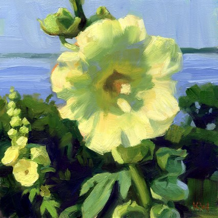 """Yellow Hollyhocks"" original fine art by Kathy Weber"