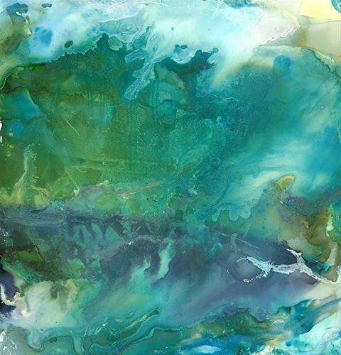 """Abstract Expressionist Alcohol Ink Abstract Art Painting SURF AND THE WIND by New Orleans Artist L"" original fine art by Lou Jordan"
