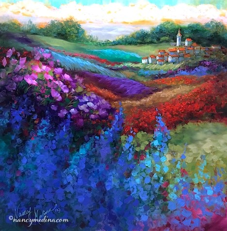 """French Village Lavender and Poppies - Flower and Landscape Paintings by Nancy Medina Art"" original fine art by Nancy Medina"