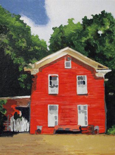 """Little Red House"" original fine art by Nan Johnson"