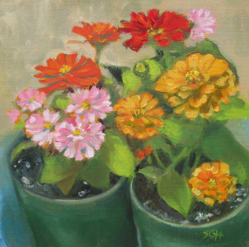 """Zinnia mix"" original fine art by Sandy Haynes"