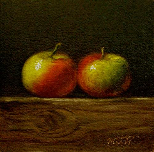 """Two Apples"" original fine art by MeeLi Lee"