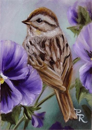 """A Perch in the Pansies"" original fine art by Paulie Rollins"