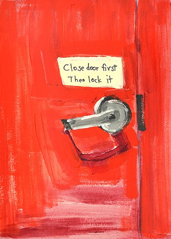 """Red Door, Helpful Sign"" original fine art by Kevin Inman"