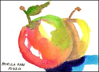 """Crazy Apples"" original fine art by Patricia Ann Rizzo"