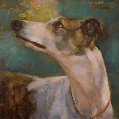 """""""Garden Greyhound"""" original fine art by Kathleen Coy"""