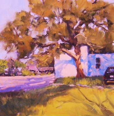 """Shadows on the Wall, Bay St. Louis, MS"" original fine art by Connie Snipes"