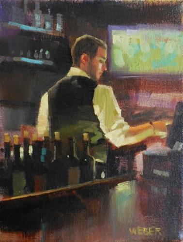 """Tending bar"" original fine art by Kathy Weber"