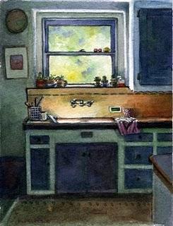 """""""Watercolor: Brand Blvd Kitchen"""" original fine art by Belinda Del Pesco"""