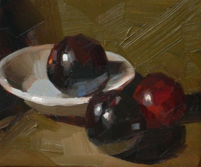 """Three Plums --- Sold"" original fine art by Qiang Huang"