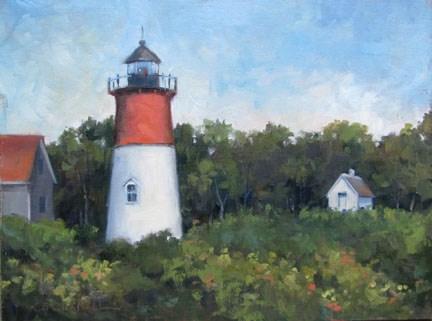 """NAUSET LIGHT An Original Plein Air Oil Painting by Claire Beadon Carnell"" original fine art by Claire Beadon Carnell"