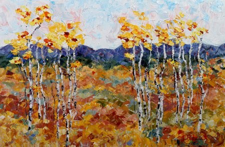 """Original Palette Knife Aspen Tree Landscape Painting   Trail Head by Colorado Impressionist Judith"" original fine art by Judith Babcock"