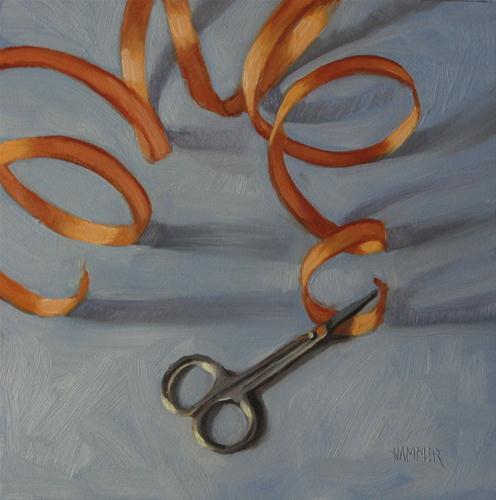 """""""Copper curls 6x6  oil"""" original fine art by Claudia Hammer"""