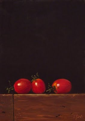 """Three Grape Tomatoes"" original fine art by Abbey Ryan"