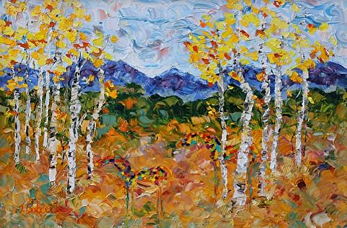 """Original Palette Knife Aspen Tree Landscape, Horse  Painting Aspen Duo  by  Colorado Impressionist"" original fine art by Judith Babcock"