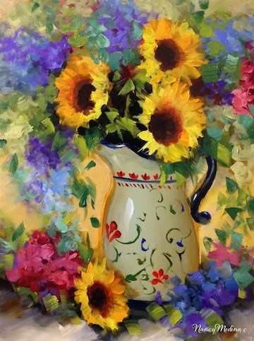 """Je T'aime Sunflower Bouquet and Valentine's Giveaways by Nancy Medina"" original fine art by Nancy Medina"