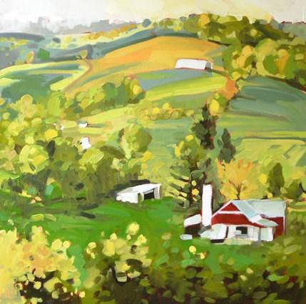 """""""Farmfield Square"""" original fine art by Jessica Green"""