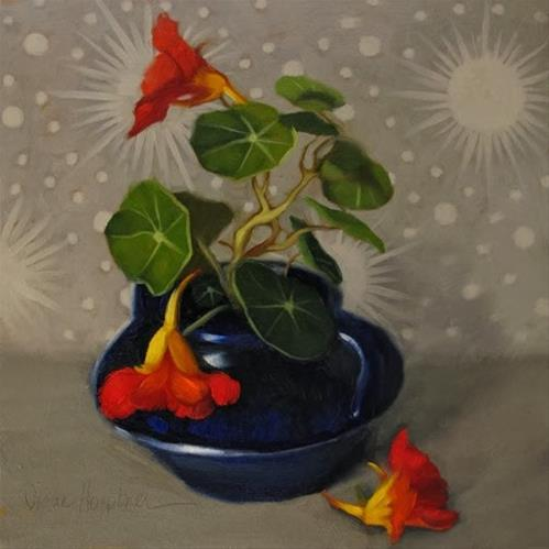 """""""Nasturtium Galaxy floral still life by Hoeptner"""" original fine art by Diane Hoeptner"""