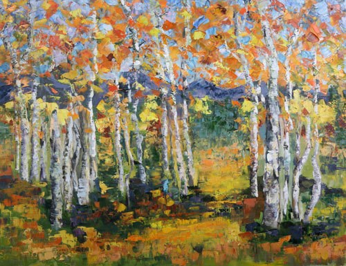 """Palette Knife Aspen , Colorado Landscape Painting Aspen Solitude by  Colorado Impressionist Judith"" original fine art by Judith Babcock"