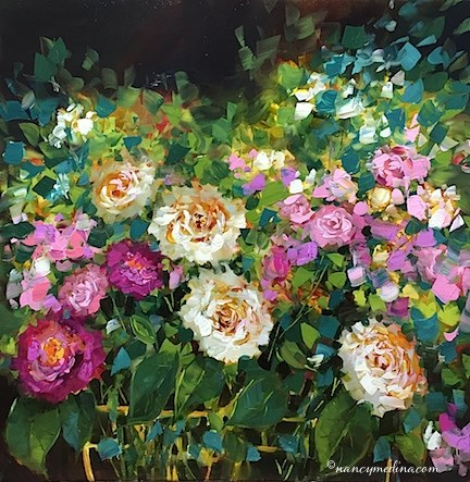 """Raindrops on Roses - Flower Painting Classes and Workshops by Nancy Medina Art"" original fine art by Nancy Medina"