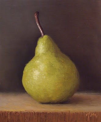 """Bartlett Pear in Early Morning Light"" original fine art by Abbey Ryan"