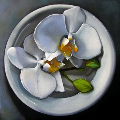 """White Orchids    6x6"" original fine art by M Collier"