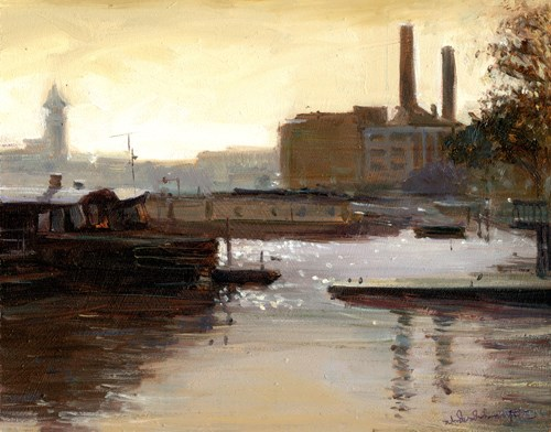 """Morning light, Chelsea Riverside"" original fine art by Adebanji Alade"