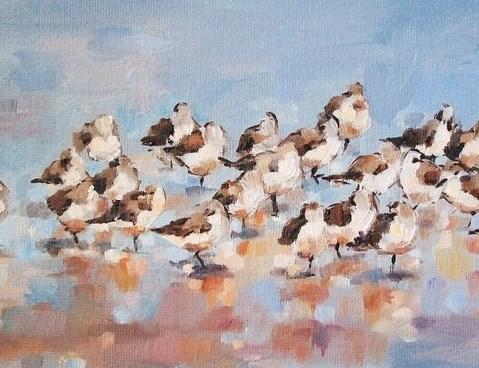 """Early Birds"" original fine art by Nava Judith"