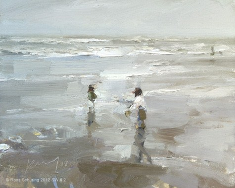 """Seascape winter 2 -Those two~Composition in white (sold)"" original fine art by Roos Schuring"
