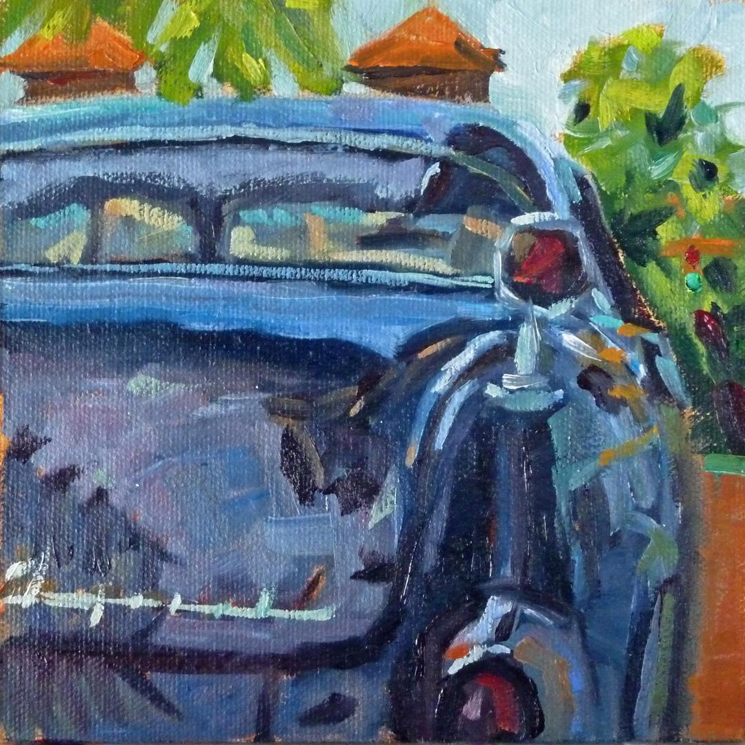 """Chrysler Imperial 6x6 oil on gessoboard First DPW Challenge"" original fine art by Mary Sheehan Winn"