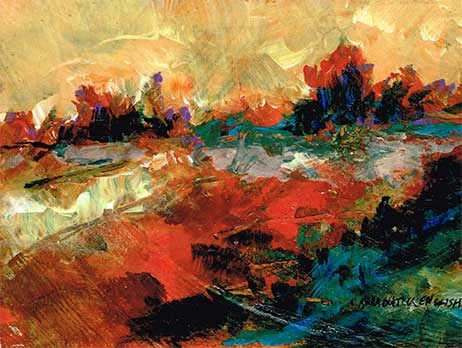 """Orange and Blue Abstracted Landscape Painting"" original fine art by Kara Butler English"