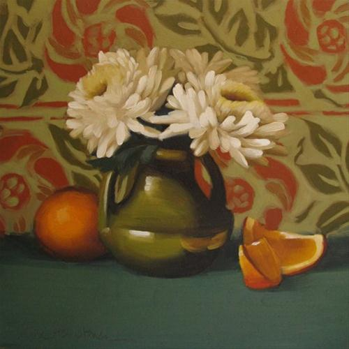 Mum Melody floral still life before and after original fine art by Diane Hoeptner