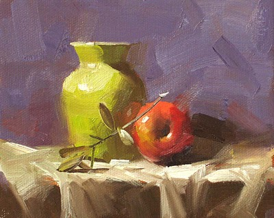 """Green Vase'"" original fine art by Qiang Huang"