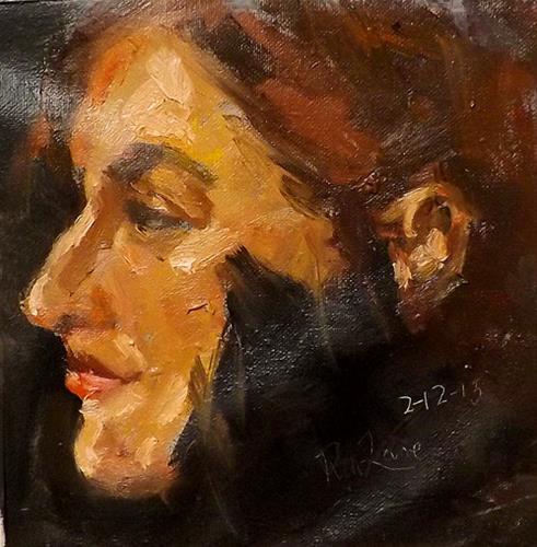 """Portrait,F14"" original fine art by Run-      Zhang Zane"