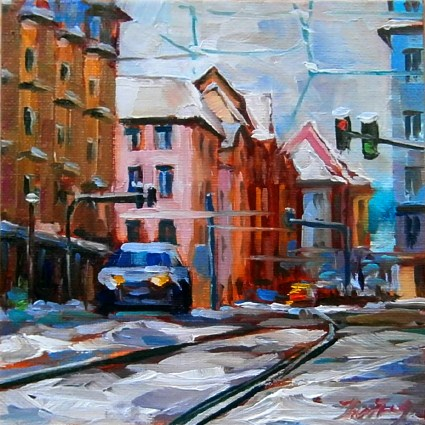 """Stuttgart, Schwabstrasse"" original fine art by Jurij Frey"