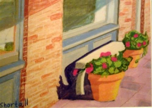 """""""Main Street Seat"""" original fine art by Elaine Shortall"""
