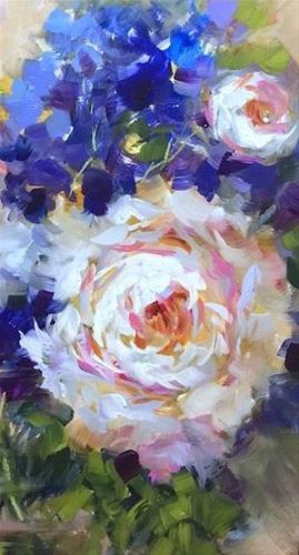"""Slice of Life Peonies and Brilliant Color Online Is Coming"" original fine art by Nancy Medina"