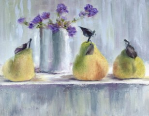 """Still Life with Three Green Pears and Flowers"" original fine art by Carrie Venezia"